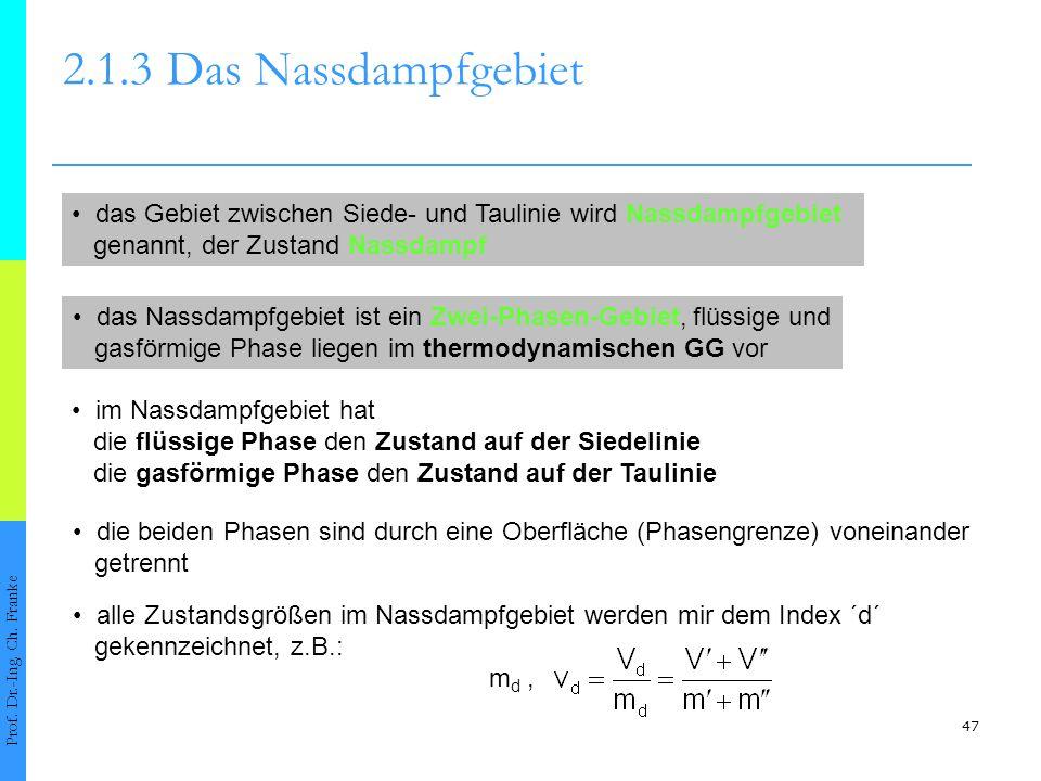 47 2.1.3Das Nassdampfgebiet Prof. Dr.-Ing. Ch. Franke das Nassdampfgebiet ist ein Zwei-Phasen-Gebiet, flüssige und gasförmige Phase liegen im thermody