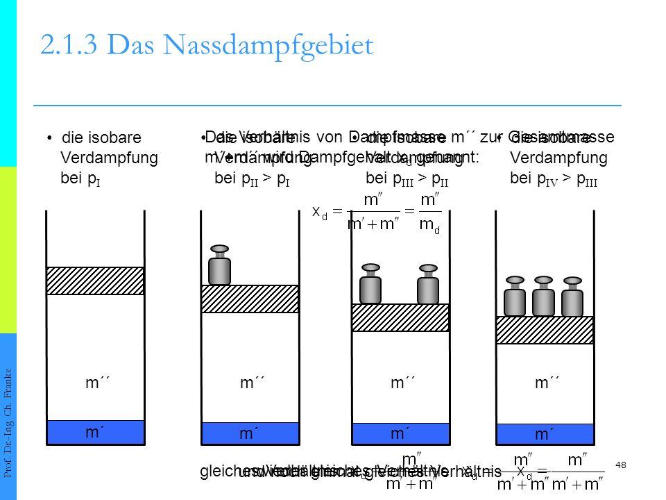 48 wieder gleiches Verhältnis und noch einmal gleiches Verhältnis die isobare Verdampfung bei p II > p I m´ m´´ 2.1.3Das Nassdampfgebiet Prof. Dr.-Ing
