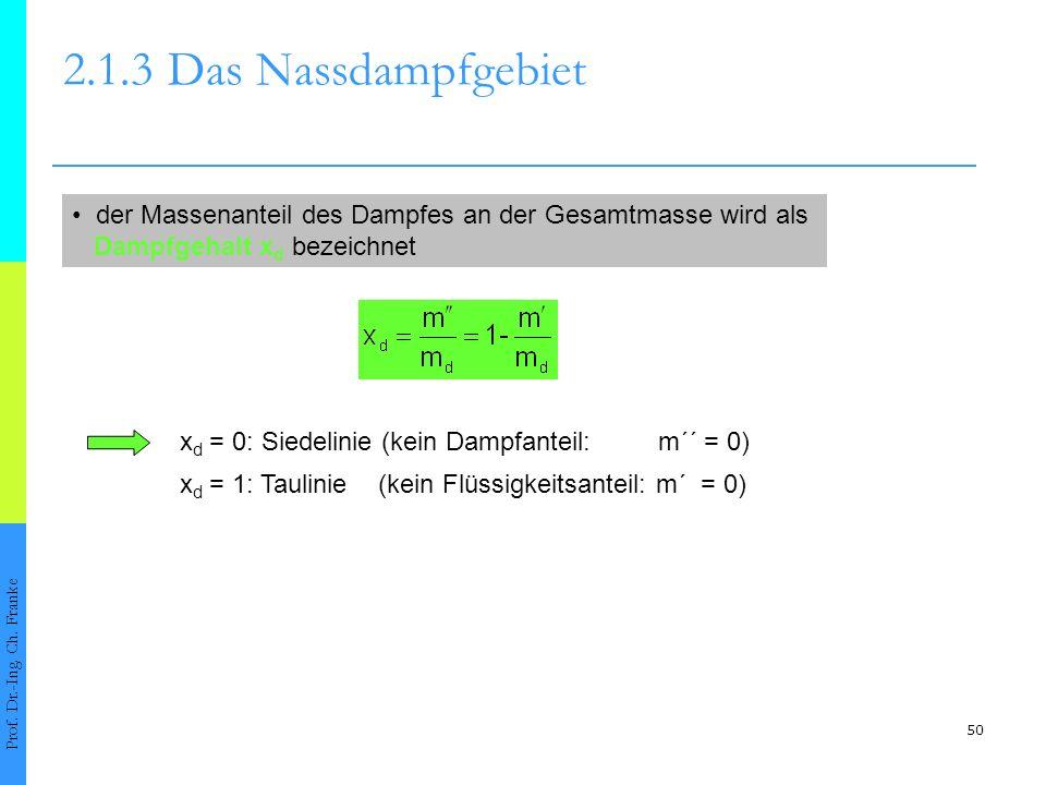 50 2.1.3Das Nassdampfgebiet Prof. Dr.-Ing. Ch. Franke der Massenanteil des Dampfes an der Gesamtmasse wird als Dampfgehalt x d bezeichnet x d = 0: Sie