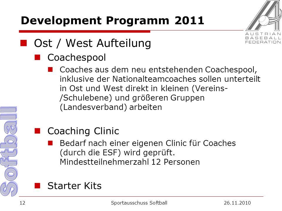 Development Programm 2011 Ost / West Aufteilung Coachespool Coaches aus dem neu entstehenden Coachespool, inklusive der Nationalteamcoaches sollen unterteilt in Ost und West direkt in kleinen (Vereins- /Schulebene) und größeren Gruppen (Landesverband) arbeiten Coaching Clinic Bedarf nach einer eigenen Clinic für Coaches (durch die ESF) wird geprüft.