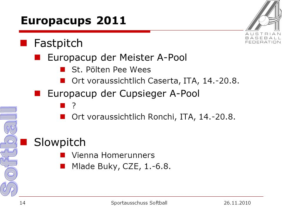 Europacups 2011 Fastpitch Europacup der Meister A-Pool St.