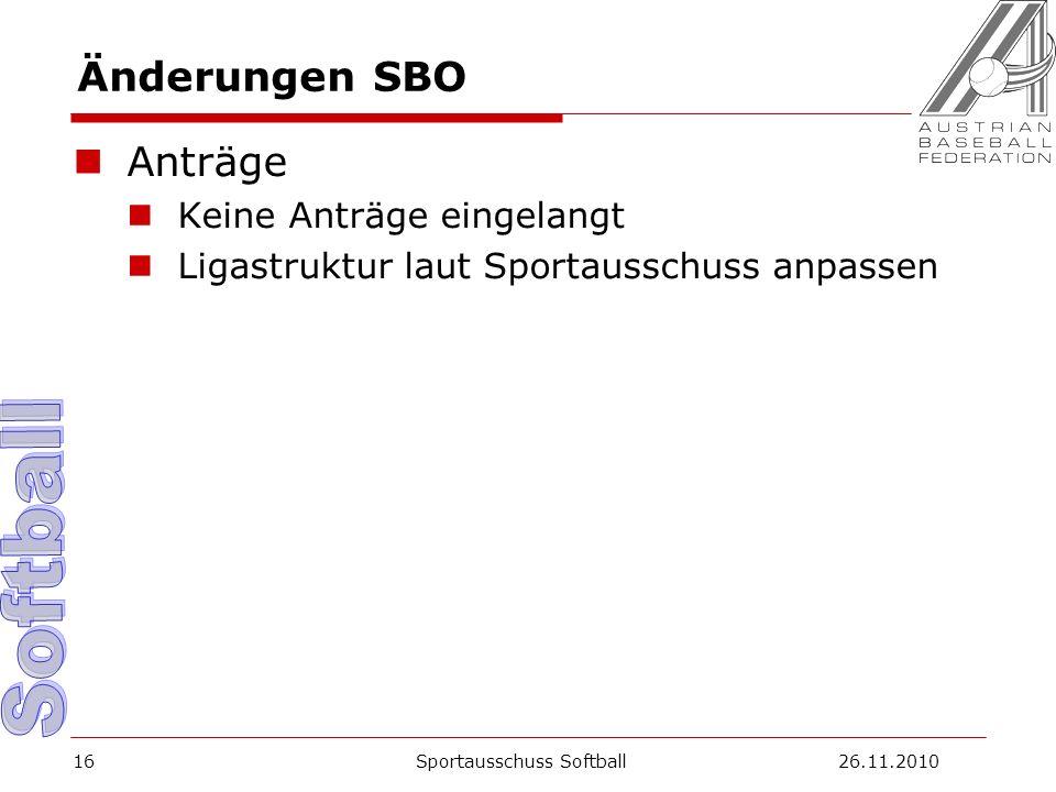 Änderungen SBO Anträge Keine Anträge eingelangt Ligastruktur laut Sportausschuss anpassen Sportausschuss Softball26.11.201016