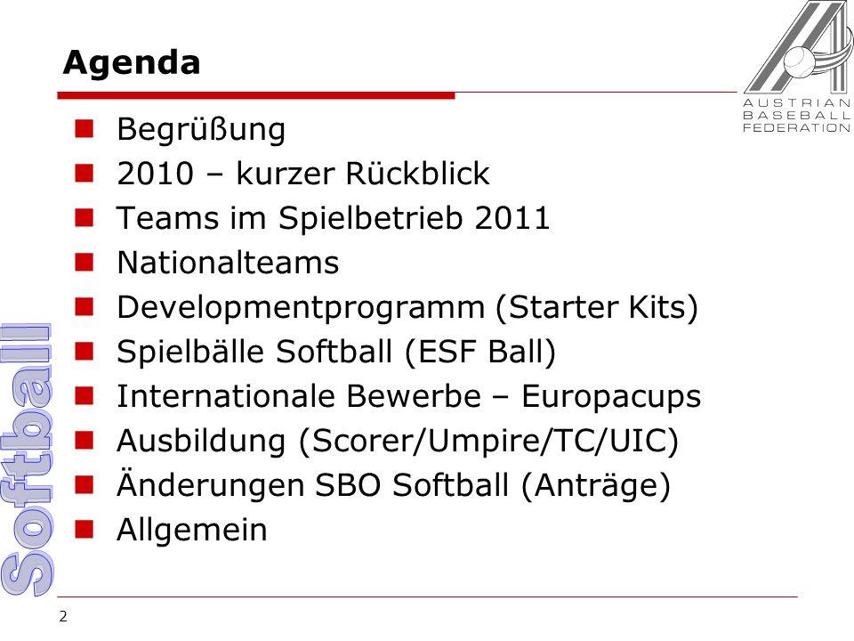 2 Agenda Begrüßung 2010 – kurzer Rückblick Teams im Spielbetrieb 2011 Nationalteams Developmentprogramm (Starter Kits) Spielbälle Softball (ESF Ball) Internationale Bewerbe – Europacups Ausbildung (Scorer/Umpire/TC/UIC) Änderungen SBO Softball (Anträge) Allgemein