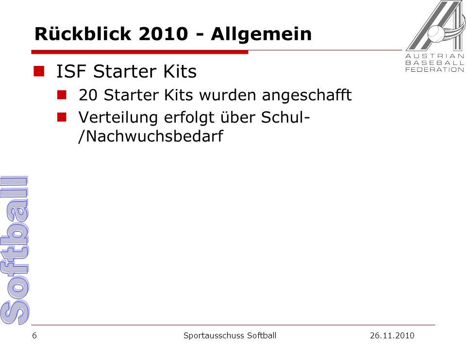 Rückblick 2010 - Allgemein ISF Starter Kits 20 Starter Kits wurden angeschafft Verteilung erfolgt über Schul- /Nachwuchsbedarf Sportausschuss Softball26.11.20106