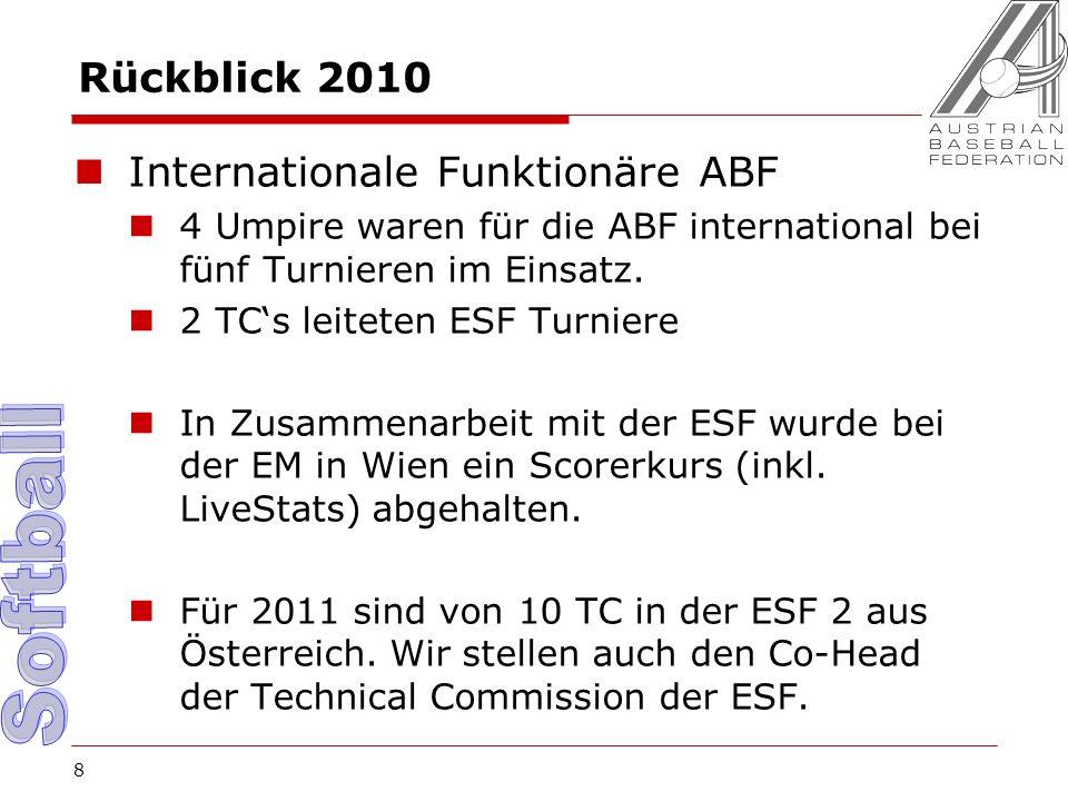 8 Rückblick 2010 Internationale Funktionäre ABF 4 Umpire waren für die ABF international bei fünf Turnieren im Einsatz.