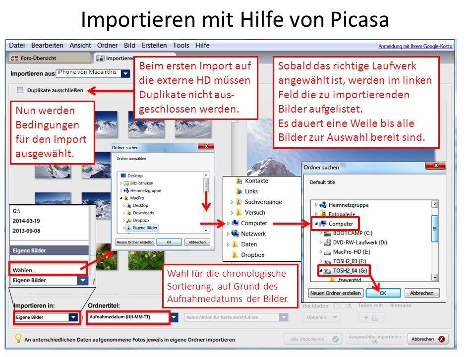 Importieren mit Hilfe von Picasa iPhone von Macairthis Sobald das richtige Laufwerk angewählt ist, werden im linken Feld die zu importierenden Bilder