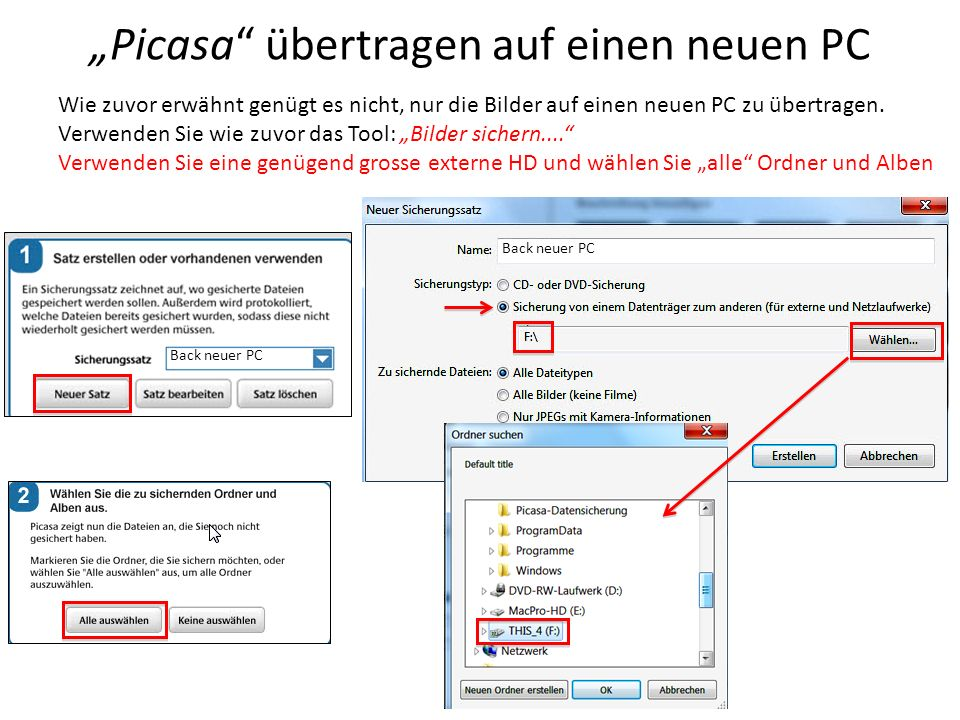 Picasa übertragen auf einen neuen PC Wie zuvor erwähnt genügt es nicht, nur die Bilder auf einen neuen PC zu übertragen. Verwenden Sie wie zuvor das T