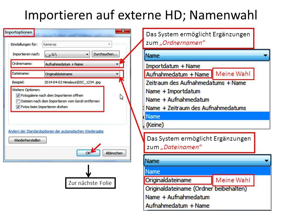 Importieren auf externe HD; Namenwahl Das System ermöglicht Ergänzungen zum Ordnernamen Das System ermöglicht Ergänzungen zum Dateinamen Meine Wahl Zu