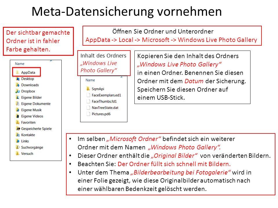 Meta-Datensicherung vornehmen Der sichtbar gemachte Ordner ist in fahler Farbe gehalten. Öffnen Sie Ordner und Unterordner AppData -> Local -> Microso