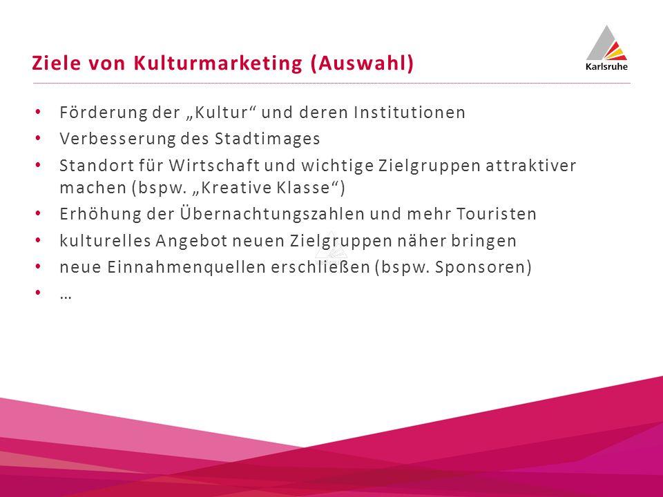 Ziele von Kulturmarketing (Auswahl) Förderung der Kultur und deren Institutionen Verbesserung des Stadtimages Standort für Wirtschaft und wichtige Zie