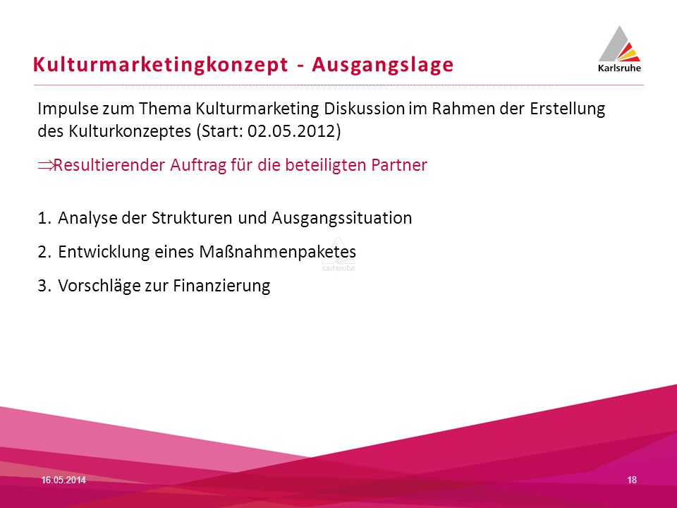 Kulturmarketingkonzept - Ausgangslage 16.05.201418 Impulse zum Thema Kulturmarketing Diskussion im Rahmen der Erstellung des Kulturkonzeptes (Start: 0