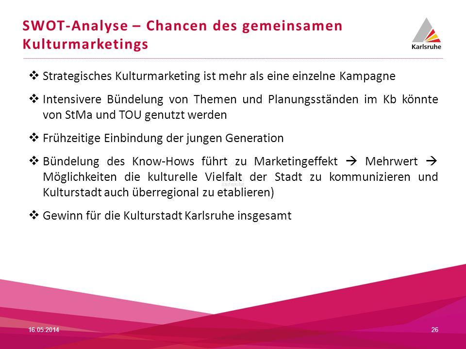 SWOT-Analyse – Chancen des gemeinsamen Kulturmarketings 2616.05.2014 Strategisches Kulturmarketing ist mehr als eine einzelne Kampagne Intensivere Bün