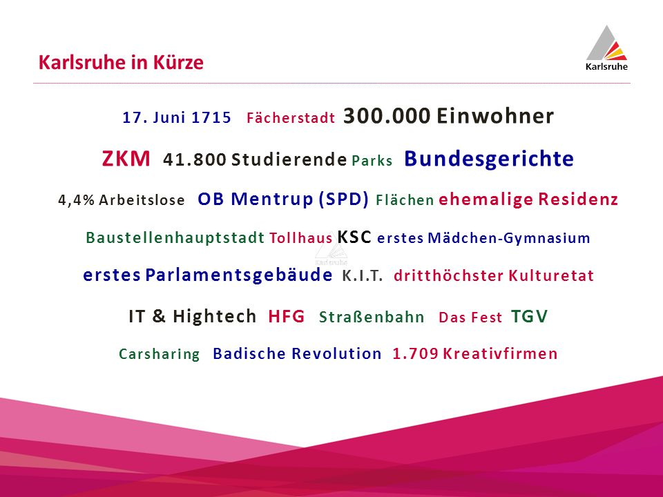 17. Juni 1715 Fächerstadt 300.000 Einwohner ZKM 41.800 Studierende Parks Bundesgerichte 4,4% Arbeitslose OB Mentrup (SPD) Flächen ehemalige Residenz B