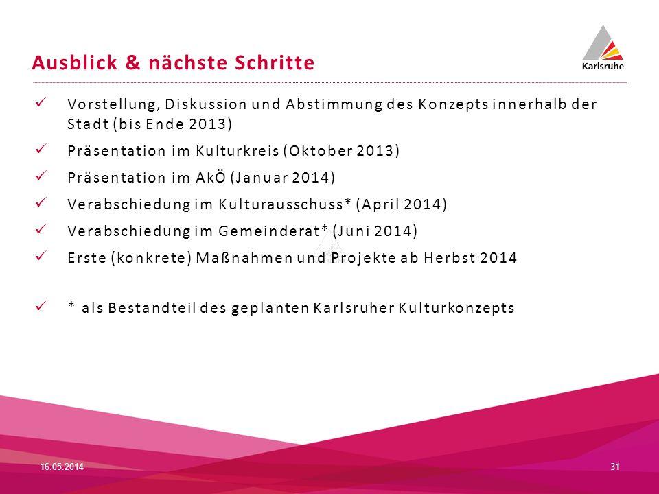 Ausblick & nächste Schritte Vorstellung, Diskussion und Abstimmung des Konzepts innerhalb der Stadt (bis Ende 2013) Präsentation im Kulturkreis (Oktob