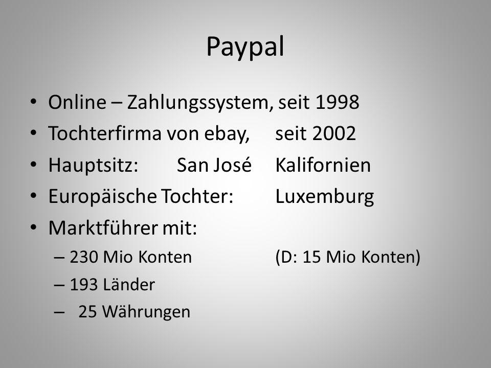 Paypal Online – Zahlungssystem, seit 1998 Tochterfirma von ebay, seit 2002 Hauptsitz: San José Kalifornien Europäische Tochter: Luxemburg Marktführer