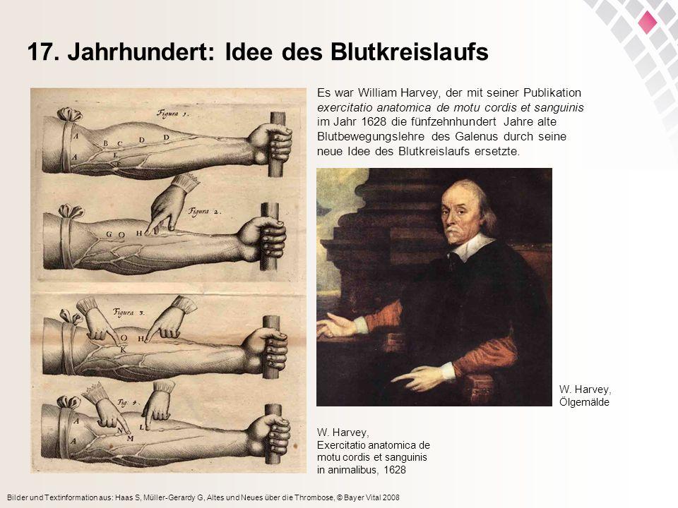 Bilder und Textinformation aus: Haas S, Müller-Gerardy G, Altes und Neues über die Thrombose, © Bayer Vital 2008 17. Jahrhundert: Idee des Blutkreisla