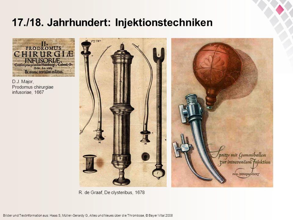 Bilder und Textinformation aus: Haas S, Müller-Gerardy G, Altes und Neues über die Thrombose, © Bayer Vital 2008 17./18. Jahrhundert: Injektionstechni