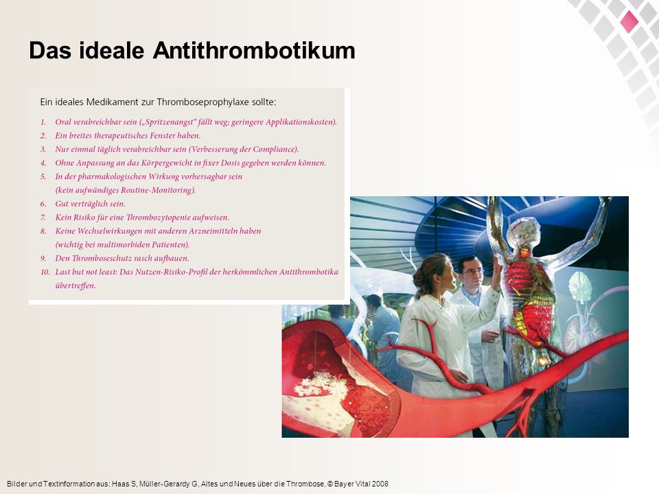 Bilder und Textinformation aus: Haas S, Müller-Gerardy G, Altes und Neues über die Thrombose, © Bayer Vital 2008 Das ideale Antithrombotikum