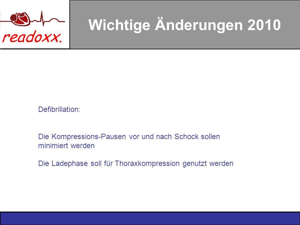 readoxx. Wichtige Änderungen 2010 Defibrillation: Die Kompressions-Pausen vor und nach Schock sollen minimiert werden Die Ladephase soll für Thoraxkom