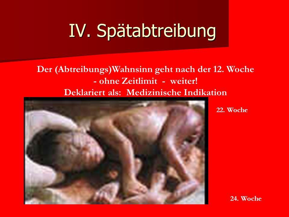 IV.Spätabtreibung Der (Abtreibungs)Wahnsinn geht nach der 12.