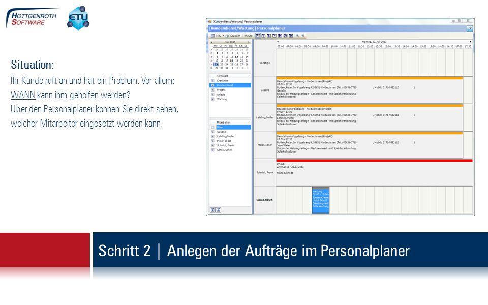 Der Auftrag wird direkt angelegt, kann ausdruckt und an die App übertragen werden.