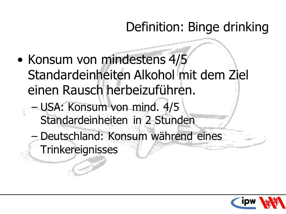 10 Definition: Binge drinking Konsum von mindestens 4/5 Standardeinheiten Alkohol mit dem Ziel einen Rausch herbeizuführen. –USA: Konsum von mind. 4/5