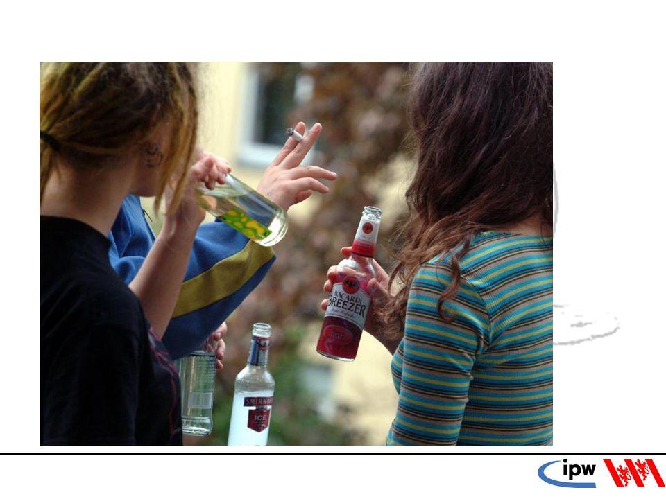 23 Alkohol und Gewalt (ESPAD 2006) Abstinente oder risikoarm Konsumierende = geringere Gewalttätigkeit Jugendliche mit einem Risikofaktor (häufiger Konsum, hohe durchschnittliche Menge, Rauschtrinken) = mehr Gewaltakte als Abstinente Häufig trinkende Jugendlich mit Rauschkonsum = deutlich erhöhtes Mass an gewalttätigem Verhalten.