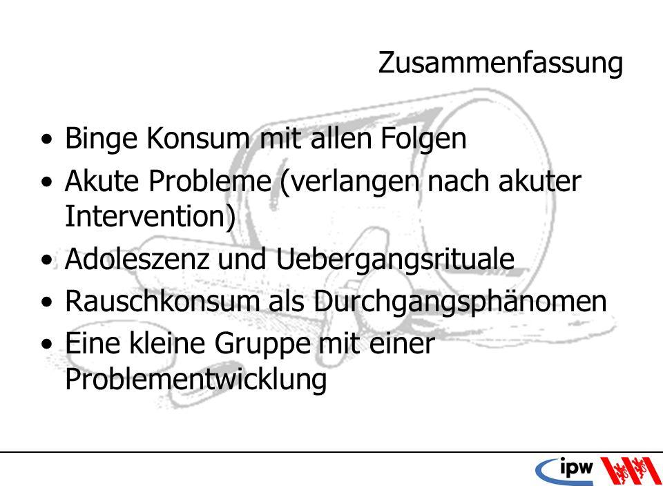 36 Zusammenfassung Binge Konsum mit allen Folgen Akute Probleme (verlangen nach akuter Intervention) Adoleszenz und Uebergangsrituale Rauschkonsum als