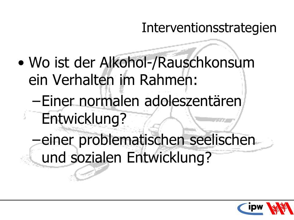 41 Interventionsstrategien Wo ist der Alkohol-/Rauschkonsum ein Verhalten im Rahmen: –Einer normalen adoleszentären Entwicklung? –einer problematische