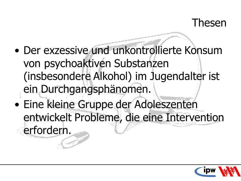 42 Thesen Der exzessive und unkontrollierte Konsum von psychoaktiven Substanzen (insbesondere Alkohol) im Jugendalter ist ein Durchgangsphänomen. Eine