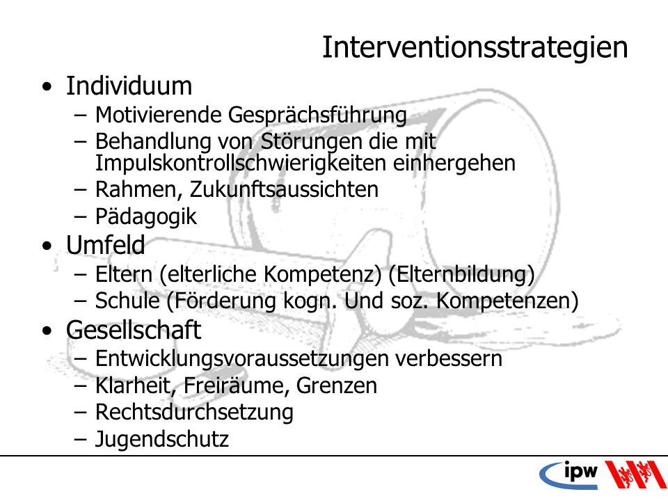 49 Interventionsstrategien Individuum –Motivierende Gesprächsführung –Behandlung von Störungen die mit Impulskontrollschwierigkeiten einhergehen –Rahm