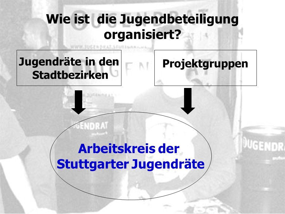 Jugendbeteiligung in Stuttgart Jugendräte: Nord, Ost, Süd, Sillenbuch, Obere Neckarvororte, Mühlhausen Jugendforen: z.B.