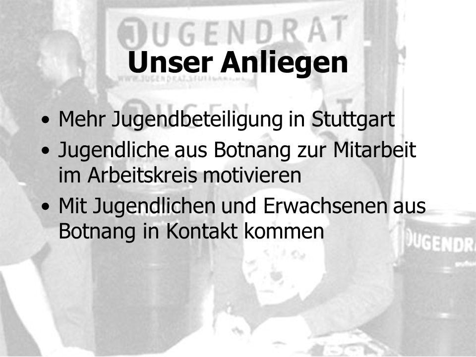 Unser Anliegen Mehr Jugendbeteiligung in Stuttgart Jugendliche aus Botnang zur Mitarbeit im Arbeitskreis motivieren Mit Jugendlichen und Erwachsenen aus Botnang in Kontakt kommen