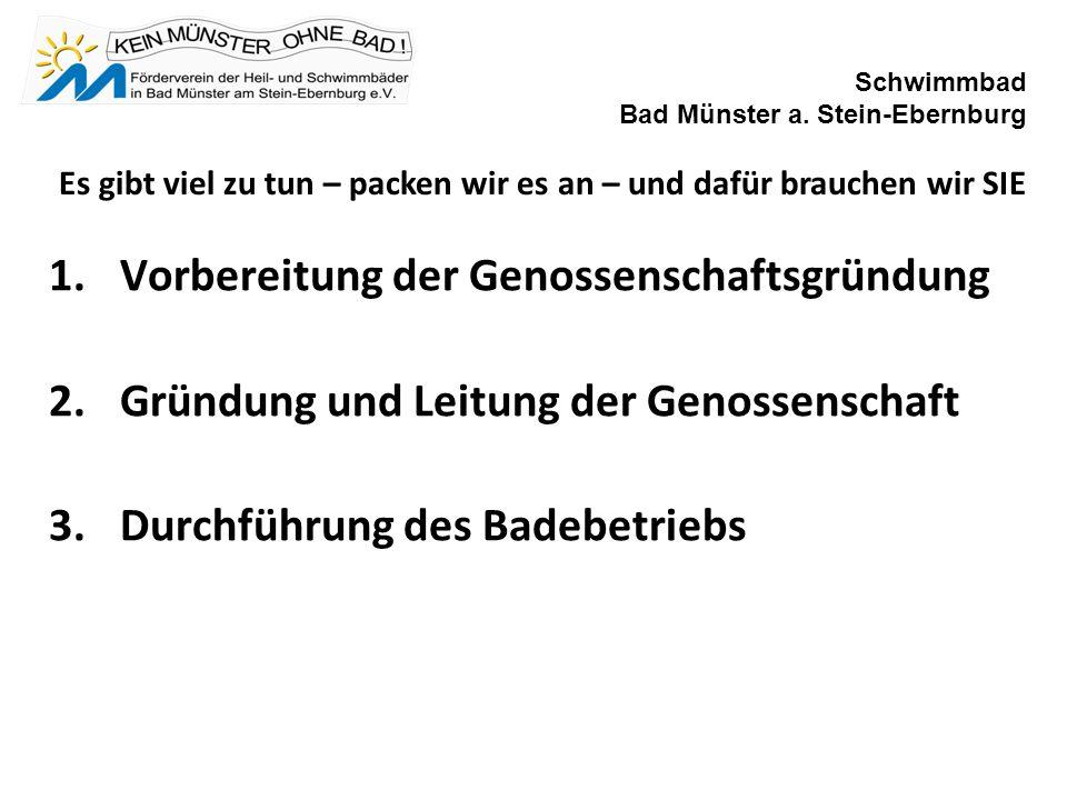 1.Vorbereitung der Genossenschaftsgründung 2.Gründung und Leitung der Genossenschaft 3.Durchführung des Badebetriebs Schwimmbad Bad Münster a.