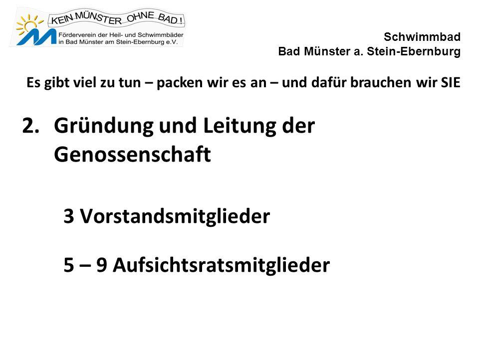 2.Gründung und Leitung der Genossenschaft 3 Vorstandsmitglieder 5 – 9 Aufsichtsratsmitglieder Schwimmbad Bad Münster a.