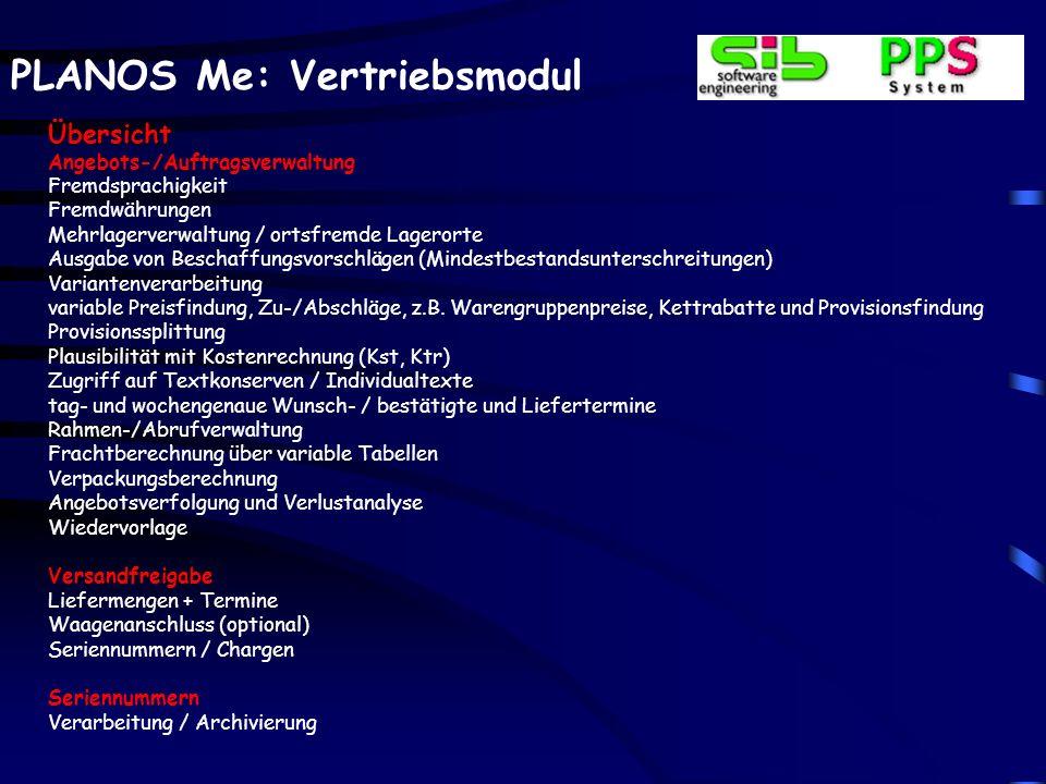 PLANOS Me: Vertriebsmodul Auftragsverwaltung – Artikelzeilen Auskünfte Anzeige des visualisierten Firmenkalenders zur Aus- kunft, z.B.
