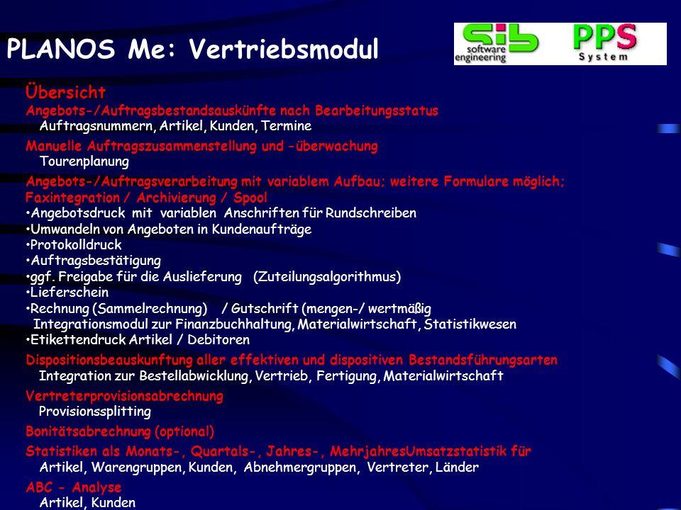 PLANOS Me: Vertriebsmodul Auftragsverwaltung – Allg.