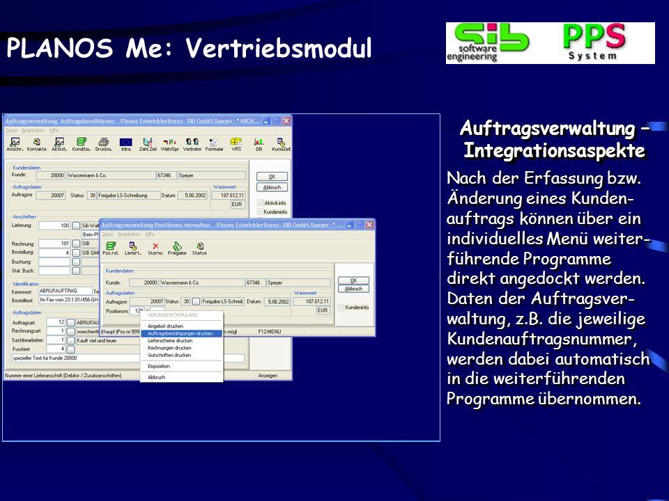 PLANOS Me: Vertriebsmodul Auftragsverwaltung –Integrationsaspekte Nach der Erfassung bzw. Änderung eines Kunden- auftrags können über ein individuelle