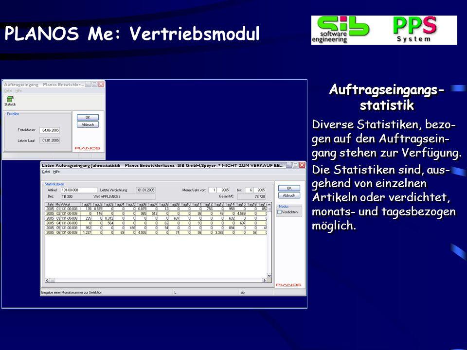 PLANOS Me: Vertriebsmodul Auftragseingangs- statistik Diverse Statistiken, bezo- gen auf den Auftragsein- gang stehen zur Verfügung. Die Statistiken s