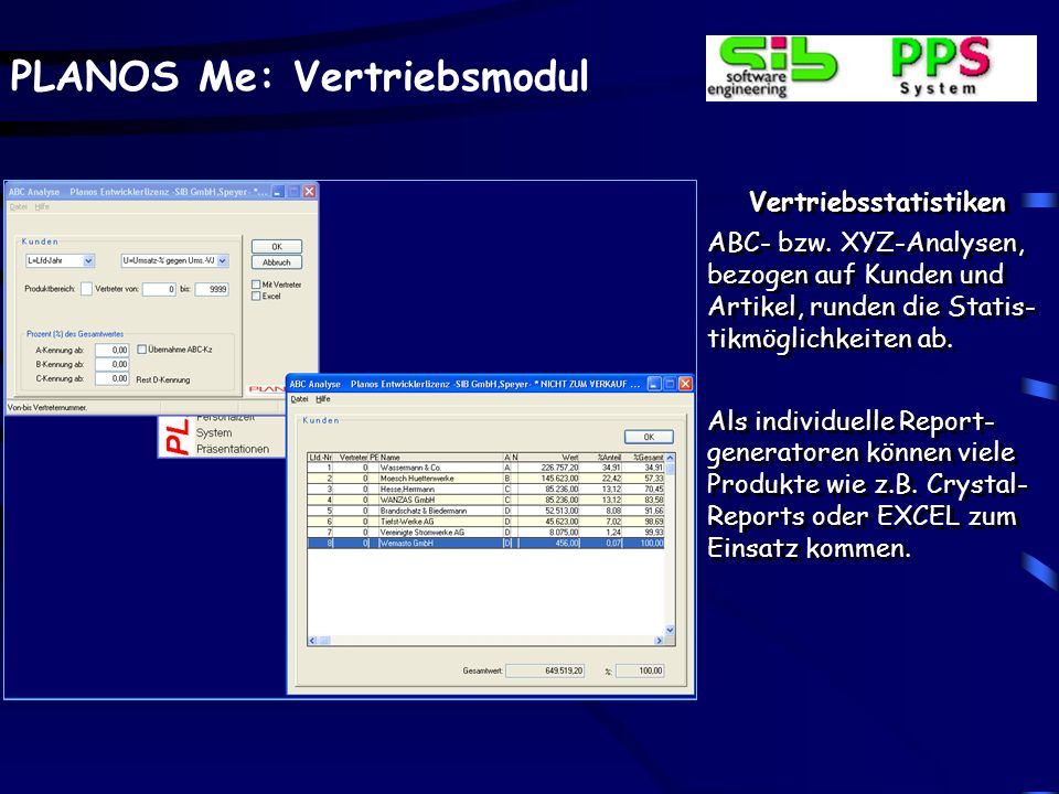 PLANOS Me: Vertriebsmodul Vertriebsstatistiken ABC- bzw. XYZ-Analysen, bezogen auf Kunden und Artikel, runden die Statis- tikmöglichkeiten ab. Als ind