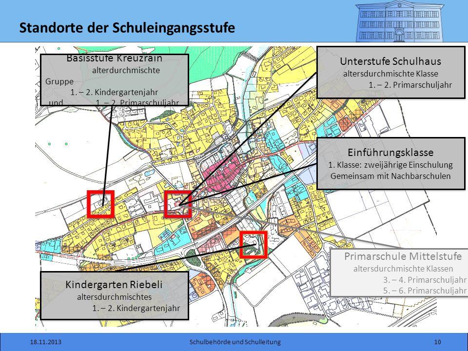 Standorte der Schuleingangsstufe 18.11.201310Schulbehörde und Schulleitung Basisstufe Kreuzrain alterdurchmischte Gruppe 1.