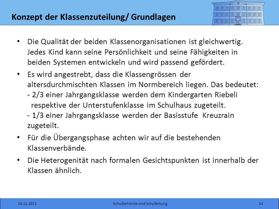 Konzept der Klassenzuteilung/ Grundlagen Die Qualität der beiden Klassenorganisationen ist gleichwertig.
