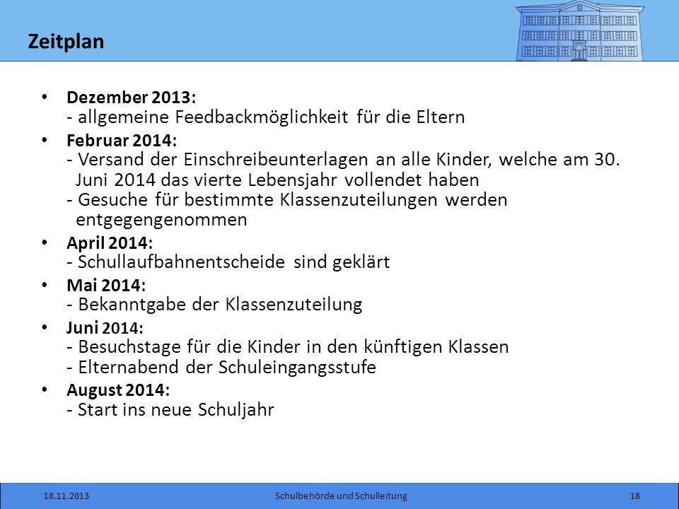 Zeitplan Dezember 2013: - allgemeine Feedbackmöglichkeit für die Eltern Februar 2014: - Versand der Einschreibeunterlagen an alle Kinder, welche am 30.