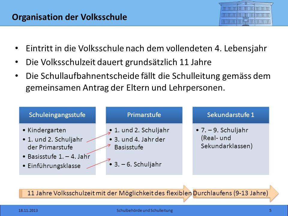 Organisation der Volksschule 18.11.2013Schulbehörde und Schulleitung5 Schuleingangsstufe Kindergarten 1.