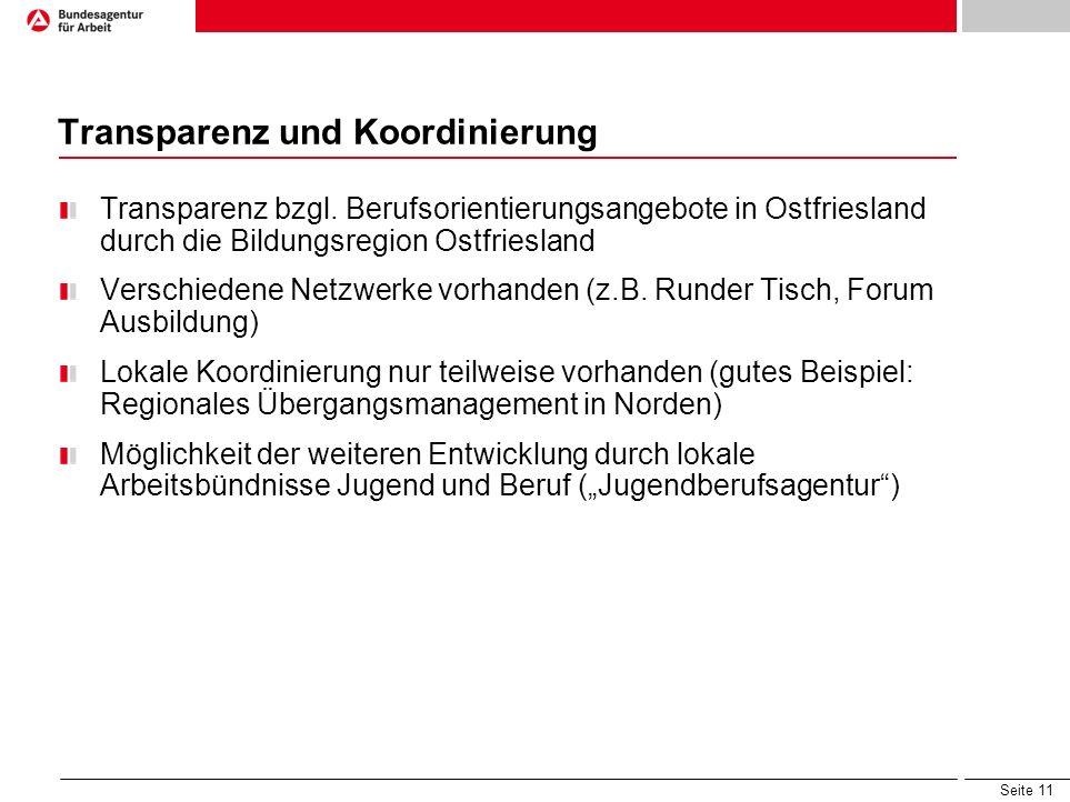 Seite 11 Transparenz und Koordinierung Transparenz bzgl. Berufsorientierungsangebote in Ostfriesland durch die Bildungsregion Ostfriesland Verschieden