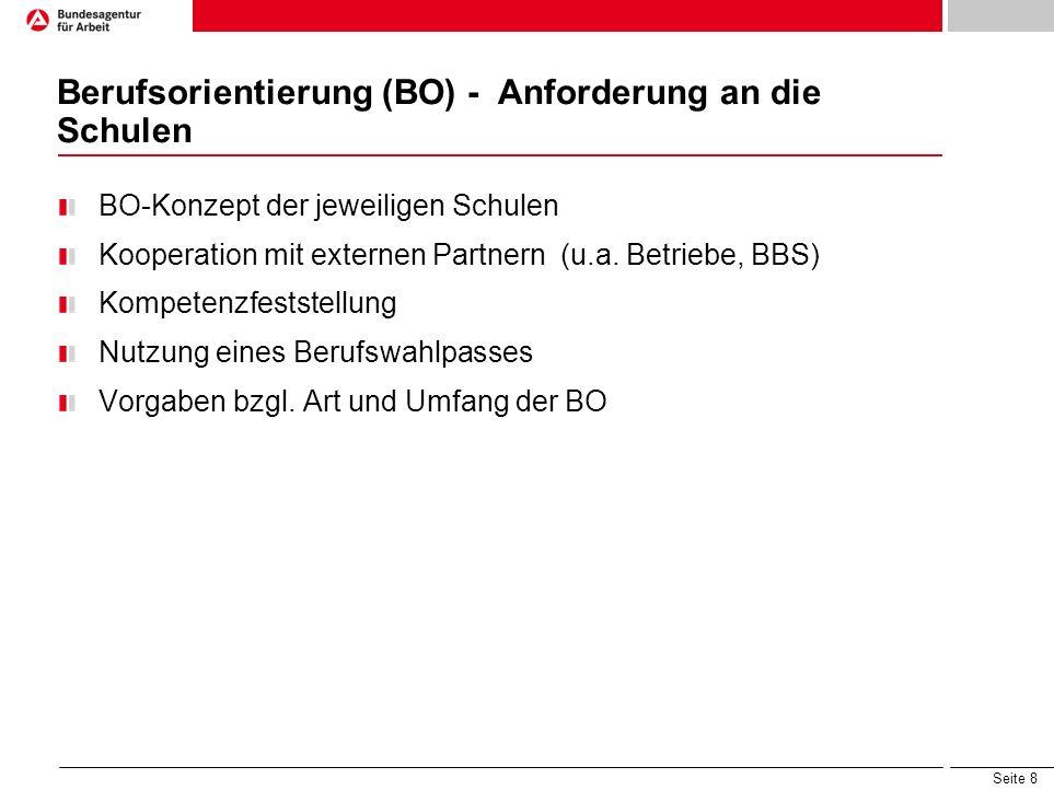 Seite 8 Berufsorientierung (BO) - Anforderung an die Schulen BO-Konzept der jeweiligen Schulen Kooperation mit externen Partnern (u.a. Betriebe, BBS)