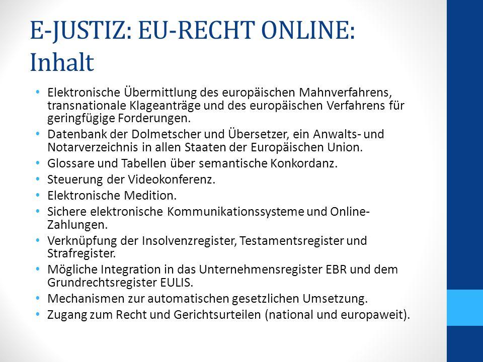 E-JUSTIZ: EU-RECHT ONLINE: Inhalt Elektronische Übermittlung des europäischen Mahnverfahrens, transnationale Klageanträge und des europäischen Verfahrens für geringfügige Forderungen.