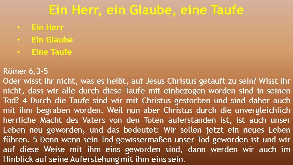 Ein Herr, ein Glaube, eine Taufe Ein Herr Ein Glaube Eine Taufe Römer 6,3-5 Oder wisst ihr nicht, was es heißt, auf Jesus Christus getauft zu sein.