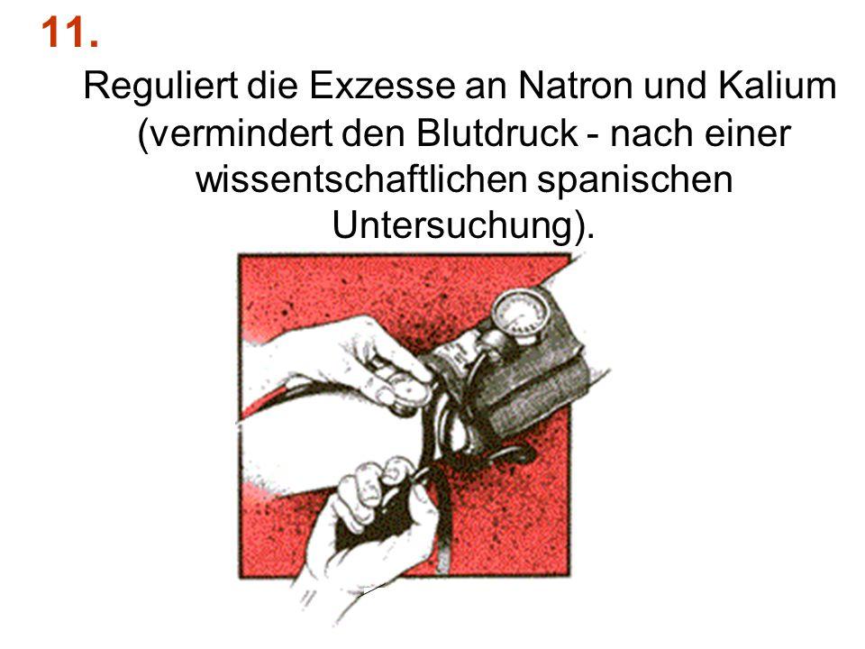11. Reguliert die Exzesse an Natron und Kalium (vermindert den Blutdruck - nach einer wissentschaftlichen spanischen Untersuchung).