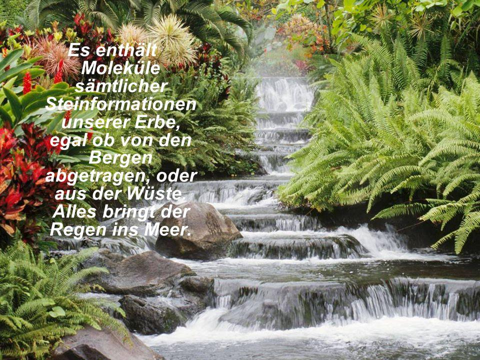 Es enthält Moleküle sämtlicher Steinformationen unserer Erbe, egal ob von den Bergen abgetragen, oder aus der Wüste. Alles bringt der Regen ins Meer.